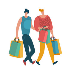 shopping people man and woman with shopping vector image