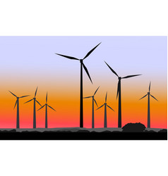 silhouettes of windmills vector image