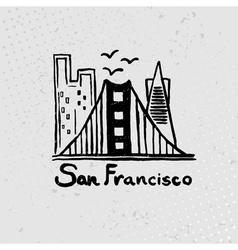 Skyline of San Francisco in watercolor vector image vector image