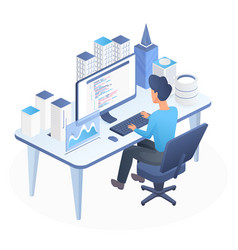 Smart city programming isometric vector