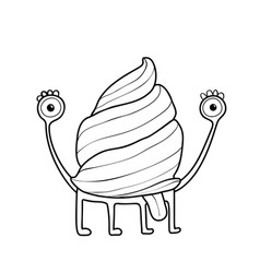 Snail or mollusk cute character for coloring book vector