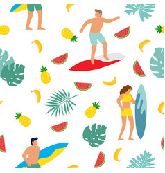 summer beach seamless pattern people having fun vector image