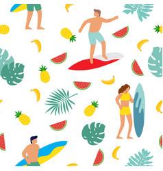 summer beach seamless pattern people having fun vector image