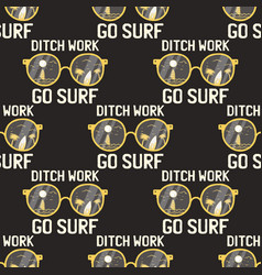 surfing adventure seamless pattern with surfboard vector image