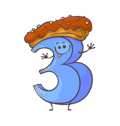 Sweet cake number character three 3 vector