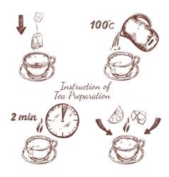 Tea preparation ceremony composition vector