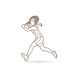 tennis player running woman play tennis outline vector image