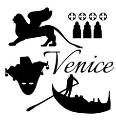 Venice flat icons vector