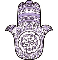 violet white hamsa vector image