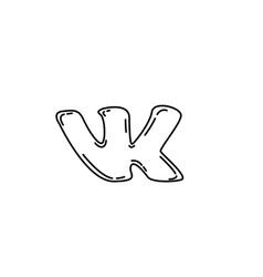 Vk icon doodle hand drawn or black outline icon vector