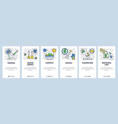 web site onboarding screens garden tools icons vector image