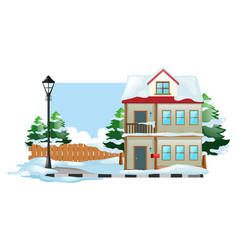 Winter scene with snow on the ground vector