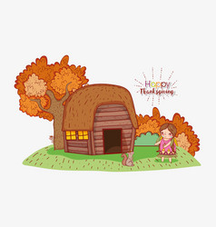Woman indigenous with house and autumn trees vector
