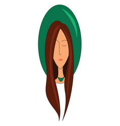 woman with long brown hair wearing hat print on vector image
