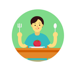 young man prepare to eat tomato with spoon and vector image