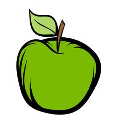 green apple icon cartoon vector image