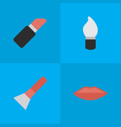 set of simple beauty icons elements brush scrub vector image