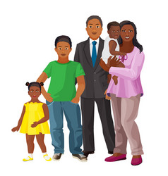 afro-american happy family of parents and three vector image vector image