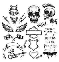 bikers doodles set hand drawn design elements vector image