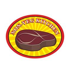 Roasted meat steak Logo for cafe or restaurant vector image