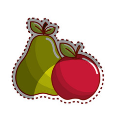 sticker pear and apple fruit icon stock vector image