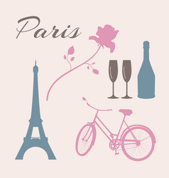 flat icon set of paris symbols vector image