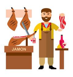 jamon butcher shop flat style colorful vector image