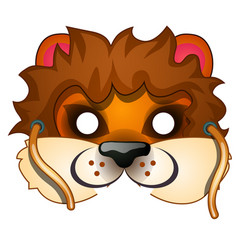 lion mask with strings drawn in cartoon style vector image vector image