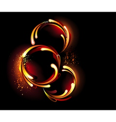 Three round fiery banner vector image vector image