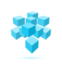 Blue cube icon Logo template vector image