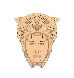 female aztec warrior jaguar headdress drawing vector image vector image