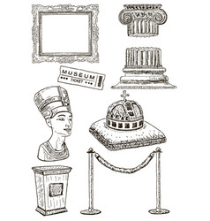 museum icon set ink hand drawn vector image vector image