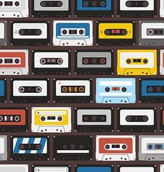 Vintage audio cassettes seamless background vector image