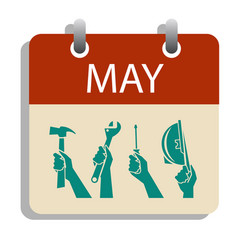 1 may day calendar labor day concept vector image
