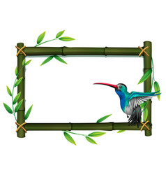 A bird on bamboo border vector