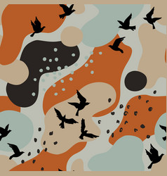 abstract autumn poster with flying birds fluid vector image