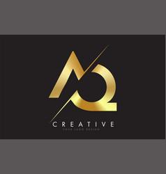 Aq a q golden letter logo design with a creative vector