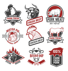 Beef chicken pork meat labels on white background vector