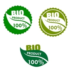 Bio product labels with green leaves vector