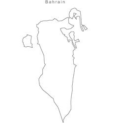 Black White Bahrain Outline Map vector image