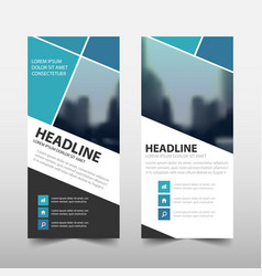 Blue square roll up business brochure flyer vector