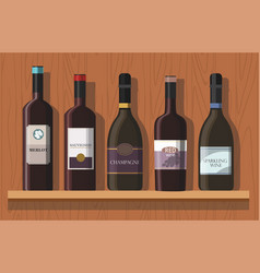 bottles of wine are on the shelf vector image