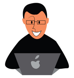 boy with glasses working on laptop with a smile vector image