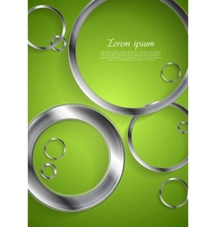 Bright green backdrop with metallic circles vector image