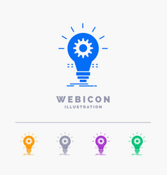 Bulb develop idea innovation light 5 color glyph vector