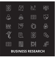 business research editable line icons set vector image
