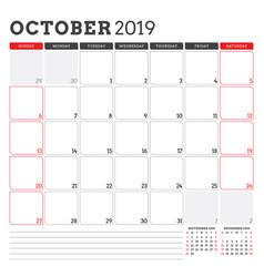 Calendar planner for october 2019 week starts on vector