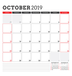 Calendar planner for october 2019 week starts vector