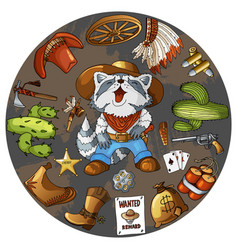 Cartoon character cowboy raccoon set of classic vector