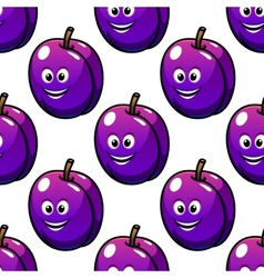 Cartoon violet plum fruit seamless pattern vector